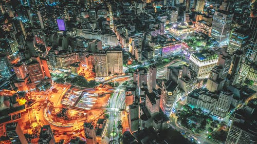 Illuminating megapolis with modern tall buildings