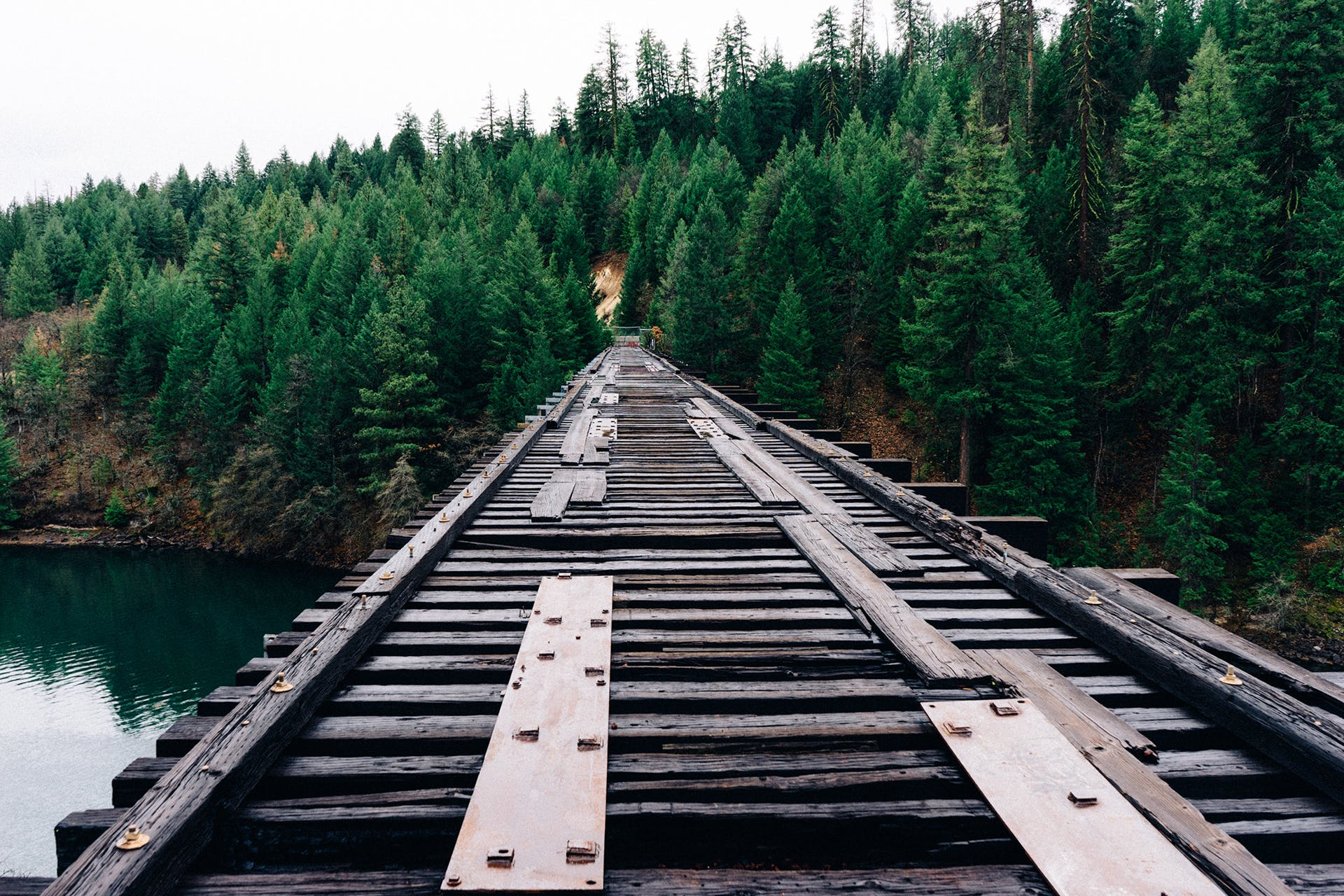 Brown Wooden Train Railway