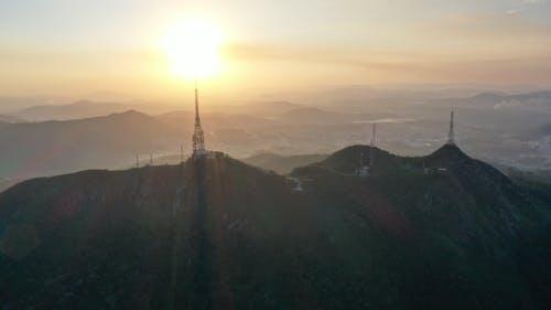 Breathtaking landscape of mountains at sunrise