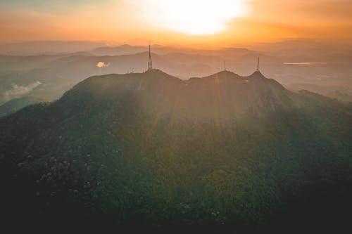 High mountain ridge at bright sunrise