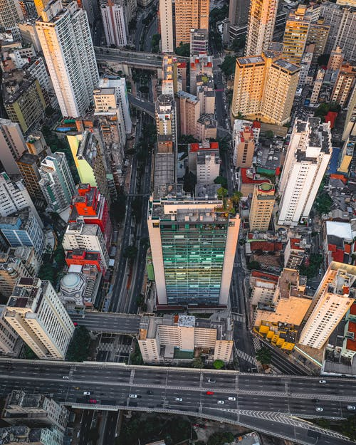 Aerial view of megalopolis buildings in downtown