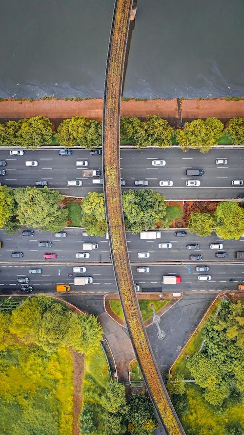 Highways under overpass bridge in suburbs