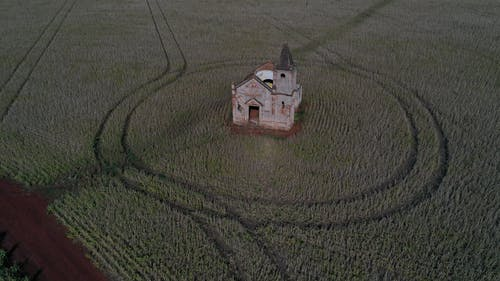 Old church located in agricultural field
