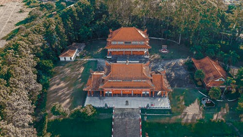 Drone view of oriental Buddhist pagoda surrounded by trees covered with green foliage in sunny day