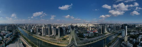 Panorama of modern megapolis with skyscrapers and channel