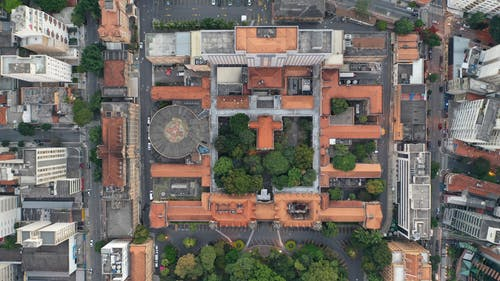 Drone view of university buildings with green trees in park located in residential district in modern megapolis
