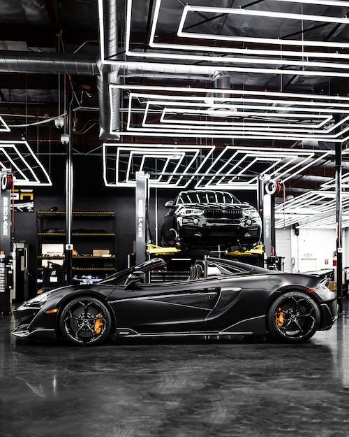 Black Ferrari 458 Italia Parked Inside Building