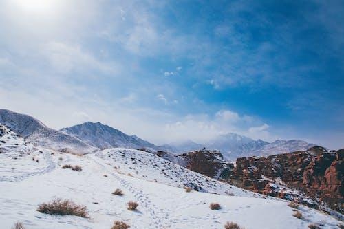 Snowy ridge illuminated by shiny sun in winter