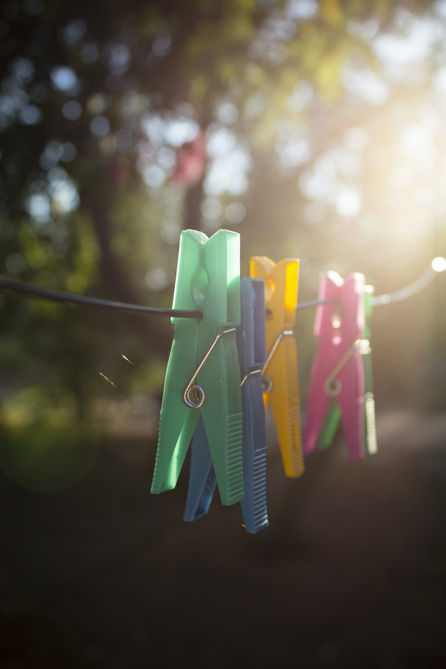 clothespins, colorful, colors