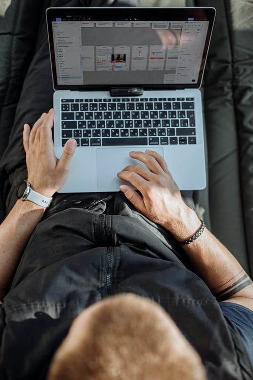 Orang Bercelana Hitam Menggunakan Macbook Pro