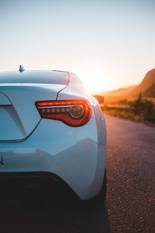 Tail light of sport car in nature