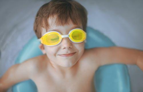 Boy Wearing Yellow Swimming Goggles