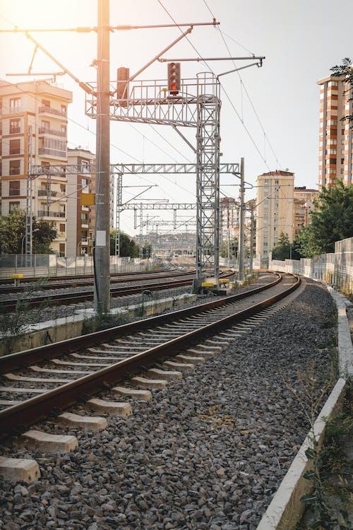 Train Rail Near High Rise Buildings
