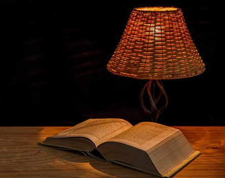 Free stock photo of light, table, lamp, book