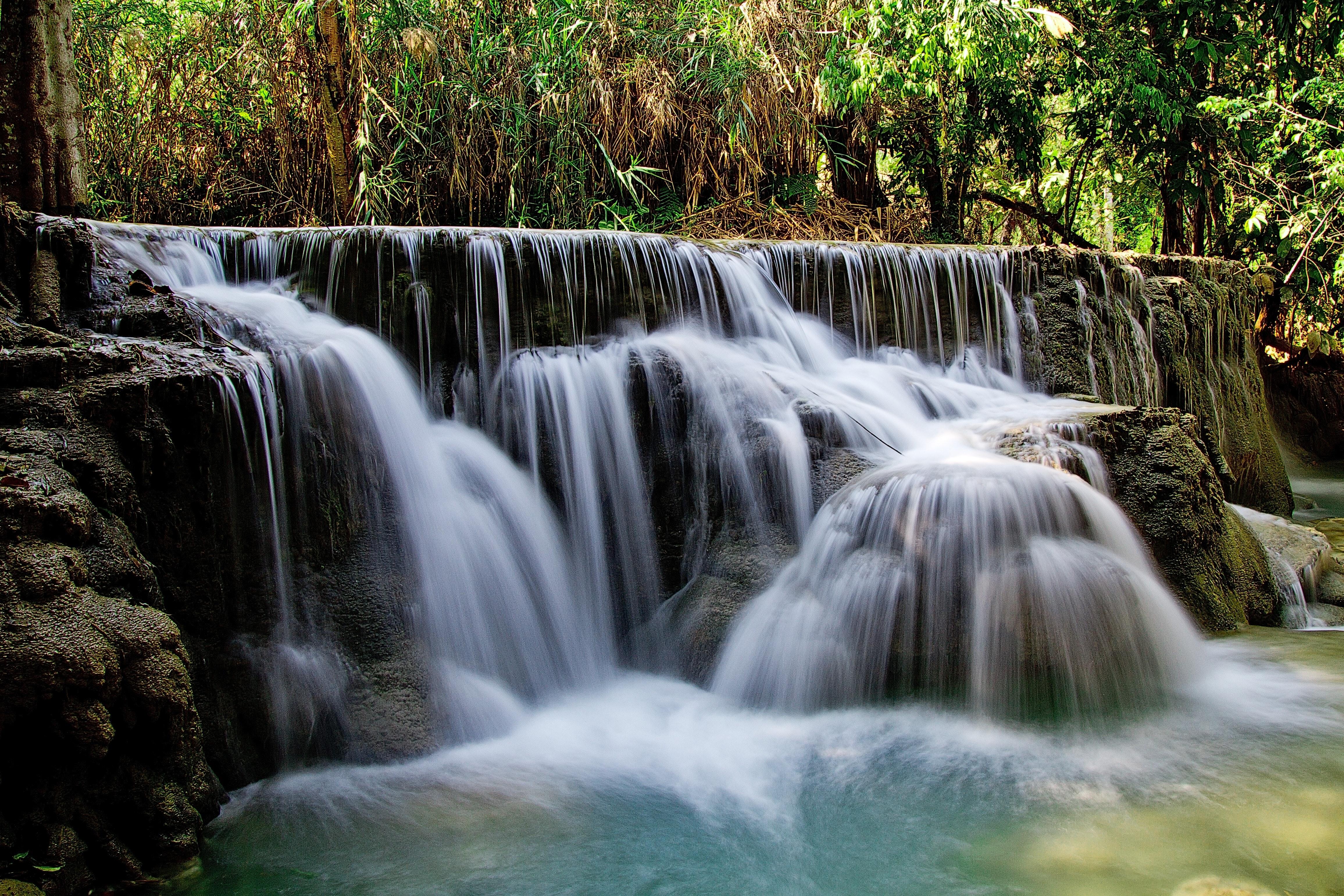 Waterfalls Beside Green Grass · Free Stock Photo