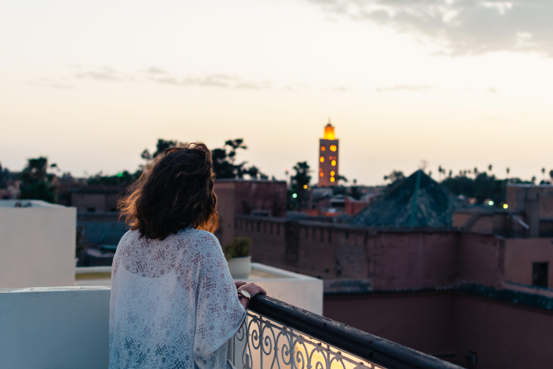 balkon, frauen, gucken