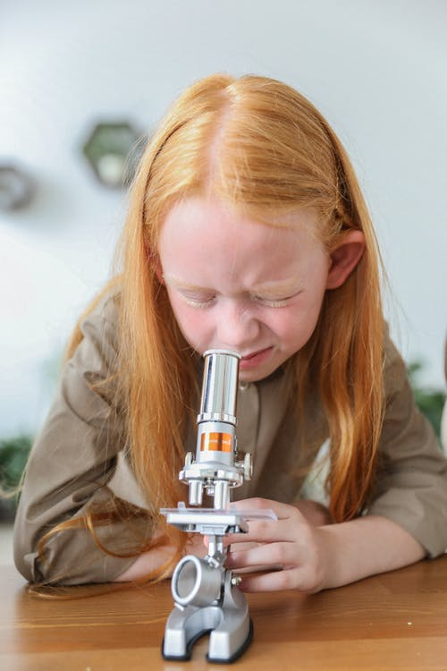 Curious little girl with long ginger hair sitting at wooden desk and examining samples under microscope in science lab