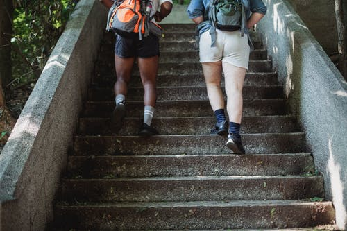 Travelers walking up stairs in park