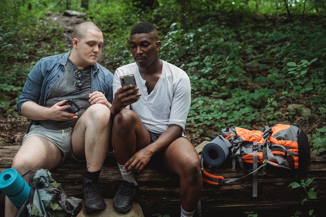 Diversi Amici Che Esplorano Smartphone Nella Foresta