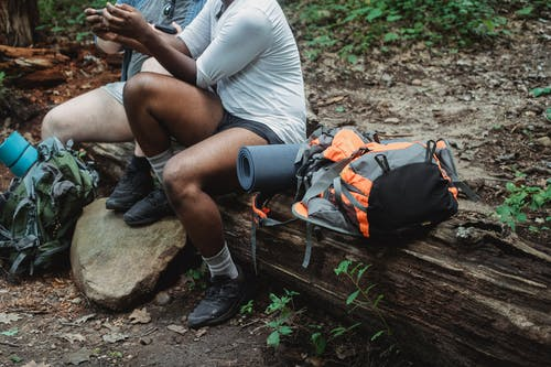 Anonymous tourists browsing smartphone while relaxing in forest