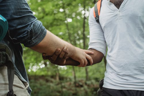 Diverse travelers holding arms in forest