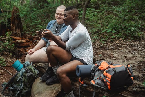 Diverse tourists browsing smartphone in forest