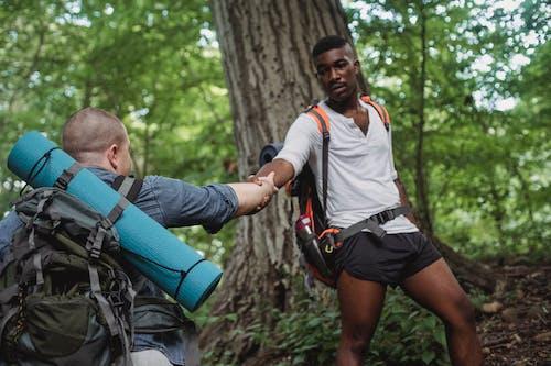 Focused African American traveler lending hand for faceless backpacker next to tree in forest in daytime