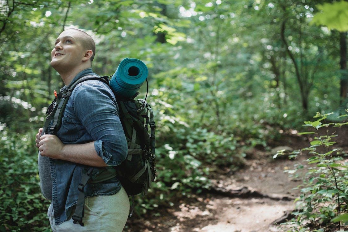 Viandante Maschio Positivo Esplorando La Foresta Con Lo Zaino