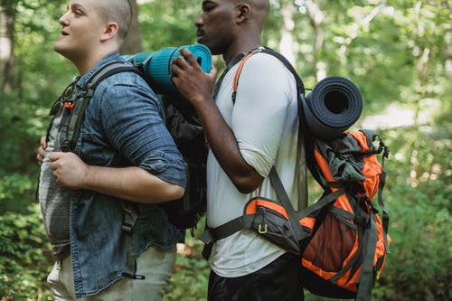 Side view of African American male backpacker helping friend while travelling through green woods