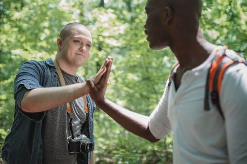 Corte Gays Multirraciais Tocando As Mãos Na Floresta