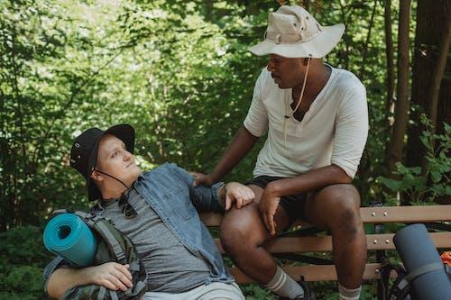 Caminhantes Homossexuais Multirraciais Em Banco Na Floresta