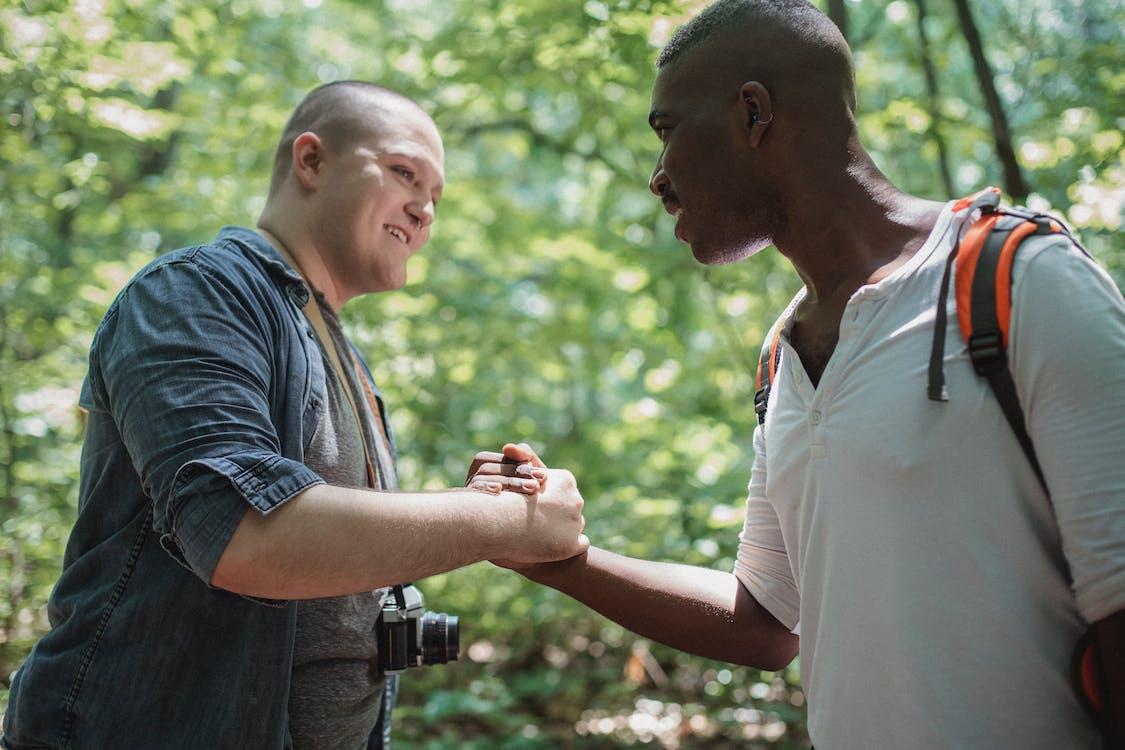 Positive Multiethnische Männer, Die Im Wald Hände Schütteln