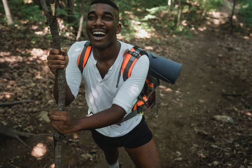 From above crop joyful African American male trekker in casual clothes with backpack standing with tree trunk in lush summer forest