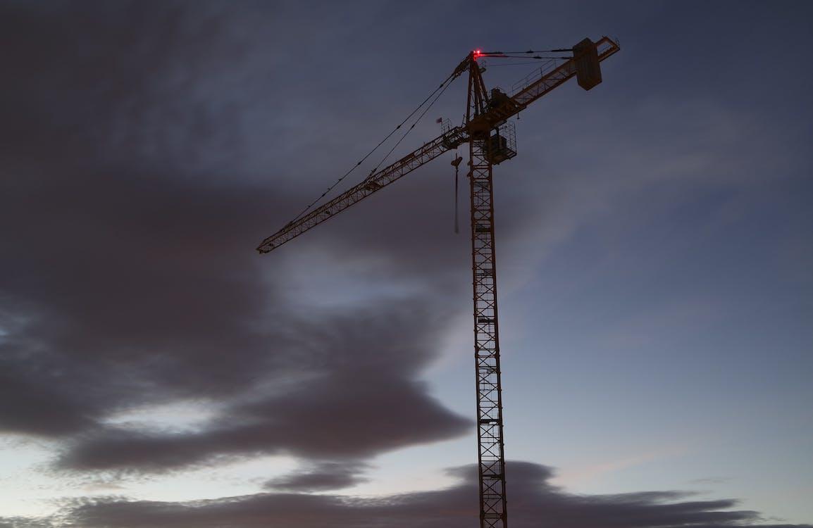 konstruktion, kran, moln
