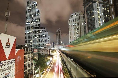 Základová fotografie zdarma na téma auta, Bangkok, budova, časosběr
