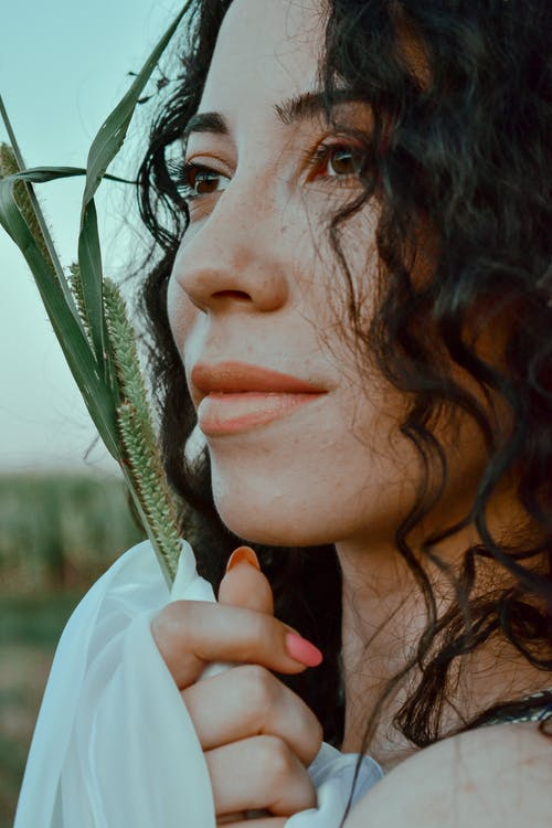 Calm lady with dark wavy hair holding twig and looking tenderly away in field in daytime
