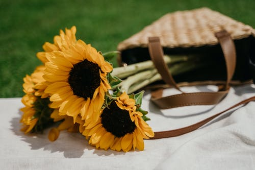 Yellow Sunflower on Brown Woven Basket