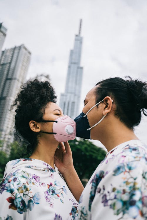 Couple Wearing Face Masks Kissing