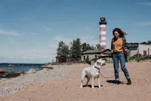 Kobieta W Brązowej Kurtce Stojącej Obok Białego Krótkiego Psa Powlekanego Na Plaży