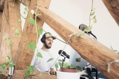 video podcaster outside garden