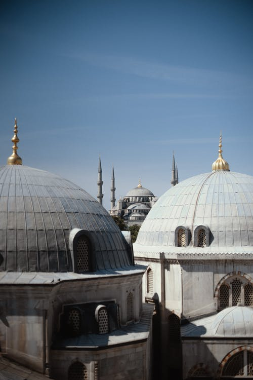 Amazing view of famous domes of Sultan Ahmed Mosque located in Istanbul under blue sky