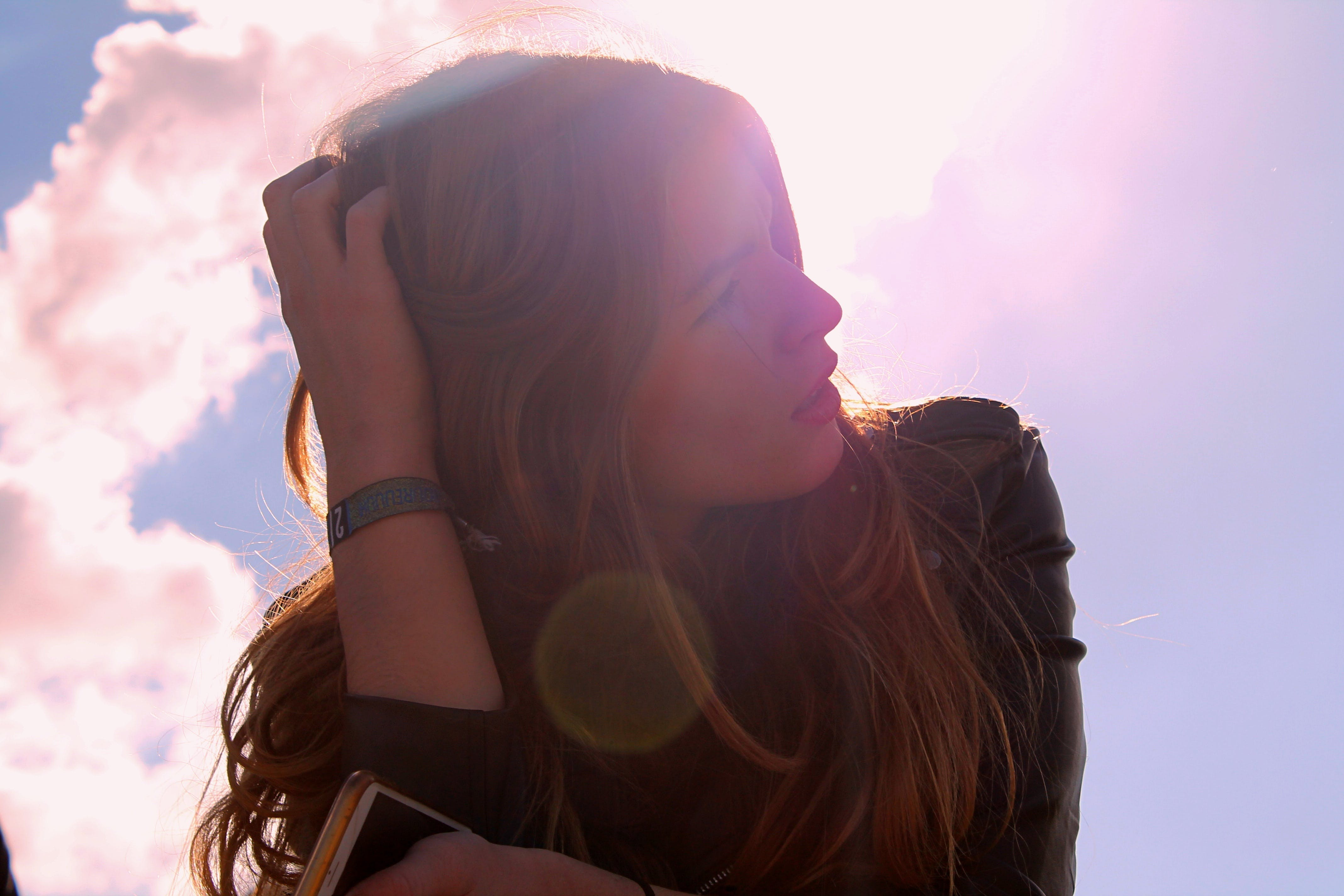 Free stock photo of sky, girl, silhouette, glare