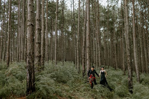 Young couple walking in bushy forest