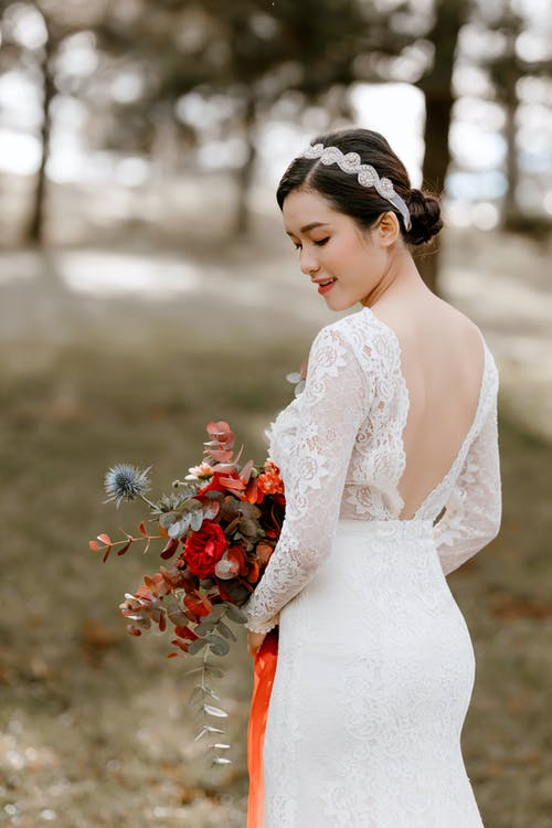 Young Asian woman in bridal dress