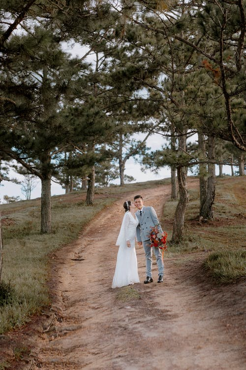 Full body of romantic bride in wedding dress kissing groom in cheek while standing on grassy hill with evergreen trees