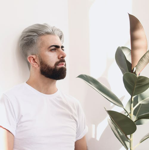Man in White Crew Neck T-shirt Standing Beside Green Plant