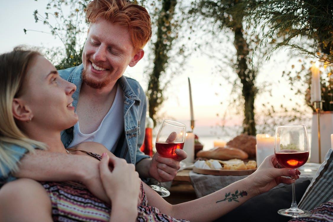 Happy couple enjoying romantic dinner together