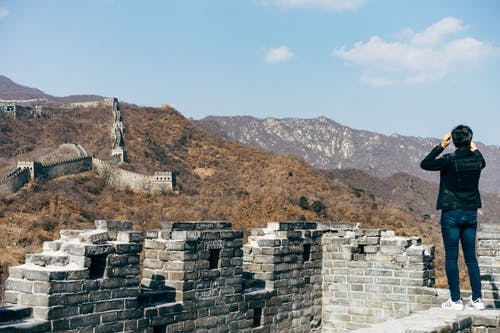Back View of a Person Standing on Great Wall of China