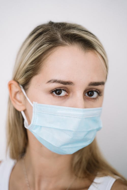 Close-Up Shot of a Woman with Face Mask Looking at Camera
