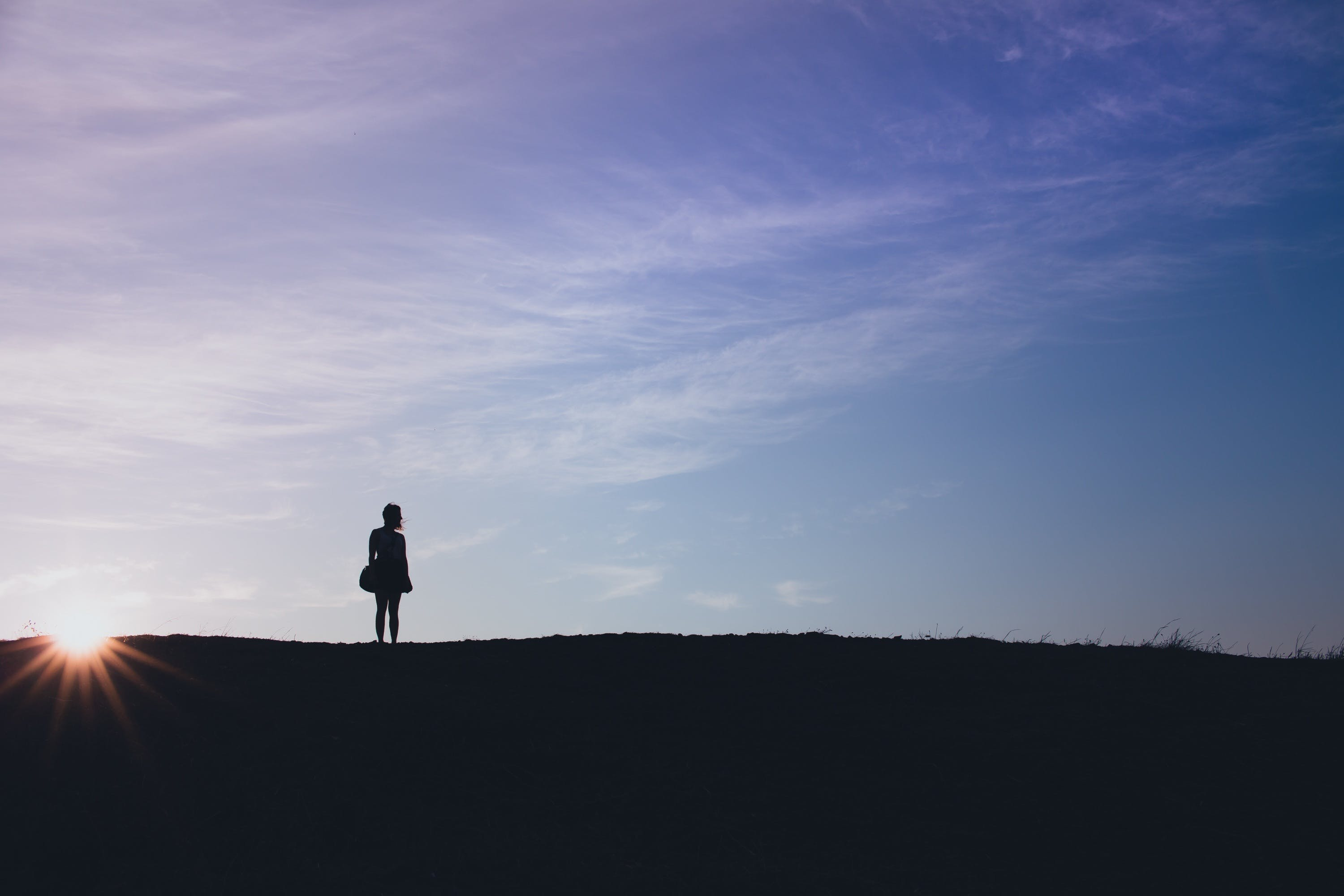 Free stock photo of woman, girl, silhouette, hill